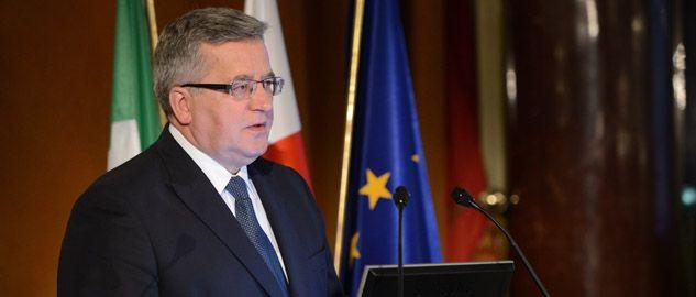 Prezydent Bronisław Komorowski podczas spotkania z przedstawicielami włoskiego biznesu w Rzymie (fot. PAP/Jacek Turczyk)