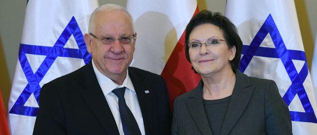 W drugim dniu swojej wizyty w Polsce prezydent Izraela Reuwen Riwlin spotkał się z premier Ewą Kopacz (fot. PAP/Radek Pietruszka)