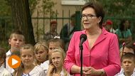 Premier Ewa Kopacz na inauguracji roku szkolnego w szkole podstawowej w Gdańsku (fot. TVP Info)
