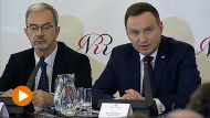 Prezydent Andrzej Duda podczas posiedzenae Narodowej Rady Rozwoju (fot. TVP Info)