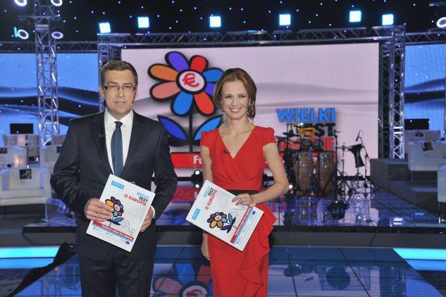 Paulina Chylewska i Maciej Orłoś byli gospodarzami Wielkiego Testu  (fot. Ireneusz Sobieszczuk/TVP)