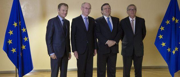 Donald Tusk, Herman Van Rompuy, Jose Manuel Barroso i Jean-Claude Juncker (fot. PAP/EPA/OLIVIER HOSLET)
