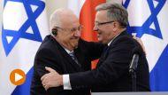 Prezydent RP Bronisław Komorowski (P) oraz prezydent Izraela Reuwen Riwlin (L)  (fot. PAP/Jacek Turczyk)