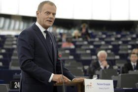 – Mam w pamięci takie decyzje PE, które dawały wiarę i dawały poczucie sensu w Europie – powiedział Tusk (fot. Ch. Karaba/PAP) (c)