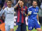 Cristiano Ronaldo, Lionel Messi i Gianluigi Buffon (fot. Getty Images)