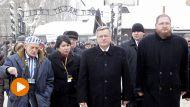 Prezydent Bronisław  Komorowski (2P)  podczas uroczystości 70. rocznicy wyzwolenia KL Auschwitz (fot. PAP/Andrzej Grygiel)